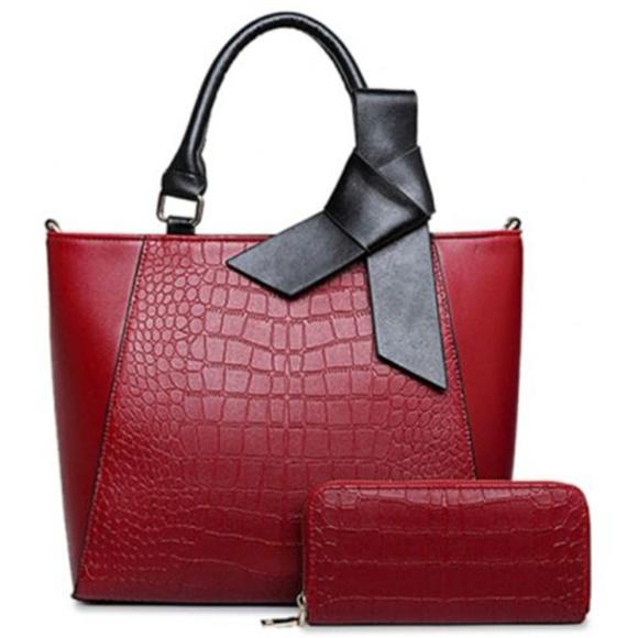 My Bag Lady Online Handbags - Crocodile Embossed Wine Bowtie Tote & Wallet Set